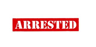 Arrested. Rubber stamp with word arrested inside,  illustration Royalty Free Stock Image