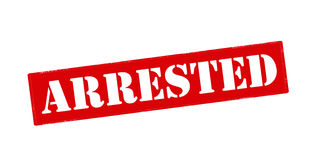 Arrested. Rubber stamp with word arrested inside,  illustration Stock Photos