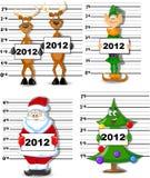 Arrested Santa, Reindeer, Elves vector. Arrested  Santa, Reindeer, Elves, Christmas Tree vector illustratioh picture Stock Image