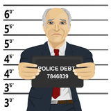 Arrested senior businessman posing for mugshot holding a signboard Royalty Free Stock Photo
