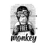 Arrested in a T-shirt holding a police department banner. Arrested in a T-shirt holding a police department table. Free Monkey lettering. Vintage black engraving stock illustration