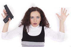 Arrested woman with gun Royalty Free Stock Photos