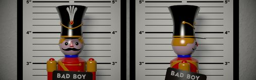 Arrested. The wooden soldier was arrested Stock Image