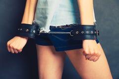 Arresterad flicka med handbojor Royaltyfria Bilder
