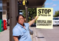 Arresti il bigottismo dei anti-Musulmani Fotografia Stock