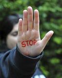 Arresti il gesto di mano immagine stock