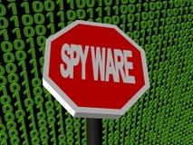 Arresti il segno dello Spyware sul codice binario Immagine Stock