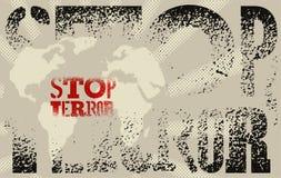 Arresti il terrore Manifesto tipografico di protesta di lerciume Illustrazione di vettore Fotografia Stock Libera da Diritti