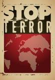 Arresti il terrore Manifesto tipografico di protesta di lerciume Illustrazione di vettore Immagini Stock