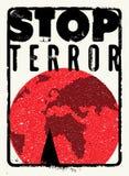 Arresti il terrore Manifesto tipografico di protesta di lerciume Illustrazione di vettore Fotografie Stock Libere da Diritti