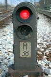 Arresti il treno rosso Fotografia Stock