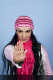 Arresti la donna di gesto di mano Fotografie Stock Libere da Diritti