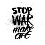 Arresti la guerra Iscrizione disegnata a mano dell'inchiostro della spazzola Fotografie Stock Libere da Diritti