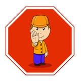 Arresto del segnale di pericolo del fumetto con l'uomo in arancio Fotografia Stock Libera da Diritti