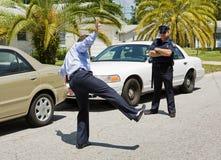 Arresto di traffico - prova di sobrietà Fotografia Stock Libera da Diritti