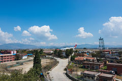 Arresto di Turkish Airlines Airbus all'aeroporto di Kathmandu Immagini Stock
