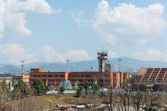 Arresto di Turkish Airlines Airbus all'aeroporto di Kathmandu Immagine Stock