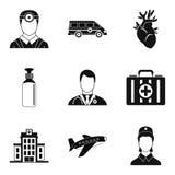 Arrhythmia icons set, simple style Stock Photos