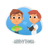 Arrhythmia medical concept. Vector illustration. Doctor and patient are talking in the hospital. Isolated on white background Royalty Free Stock Photography