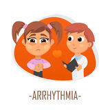 Arrhythmia medical concept. Vector illustration. Doctor and patient are talking in the hospital. Isolated on white background Royalty Free Stock Images
