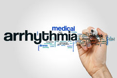 Arrhythmia word cloud concept on grey background stock images