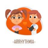 Arrhythmialäkarundersökningbegrepp också vektor för coreldrawillustration Royaltyfria Bilder
