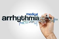Arrhythmiewort-Wolkenkonzept auf grauem Hintergrund Stockbilder