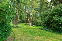 Arrière-cour étonnante de maison de ferme avec la pelouse verte, sapins, buissons photographie stock