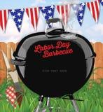 Arrière-cour d'invitation de barbecue de Fête du travail illustration libre de droits
