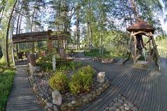 Arrière-cour de jardin de la Finlande Photos stock