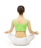 Arrière de yoga, femme méditant en Lotus Position Arrière femelle photos libres de droits