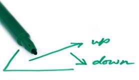 Arriba y abajo de gráfico como concepto del negocio Fotografía de archivo libre de regalías