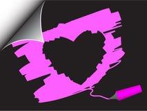 Arricciatura della pagina del cuore del biglietto di S. Valentino Fotografia Stock