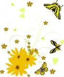 Arricciatura gialla dei fiori con le farfalle Immagini Stock