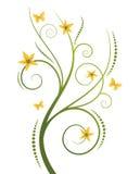 Arricciature con i fiori gialli Fotografia Stock Libera da Diritti
