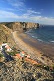 Arrifana beach. At sunset, Aljezur, Portugal royalty free stock image