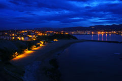 Arrigunaga beach in Getxo at night. Arrigunaga beach in Getxo at the night Stock Photo