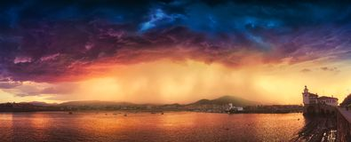 Arriluce in Getxo with stormy clouds. Panorama of Arriluce in Getxo with stormy clouds stock image