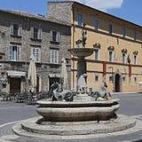 Arringo kwadrat jest starym monumentalnym kwadratem miasto Ascoli Piceno Zdjęcie Stock