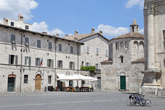 Arringo Square is the oldest monumental square of the city of Ascoli Piceno. Royalty Free Stock Image