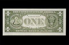 Arrière de l'un billet d'un dollar Photos stock