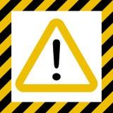 Arrisque o sinal do símbolo, marca de exclamação, advirta a construção do cuidado, fundo listrado vetor, segurança da marca do pe ilustração do vetor