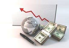 Arrisque a rendição do conceito 3d do negócio do gráfico com dinheiro de 100 dólares Imagens de Stock