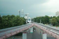 Arrivée à la station de monorail Photographie stock libre de droits