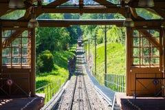 Arrivée bleue de jour d'été d'arbres de Forest Tram Wooden European Uphill images libres de droits