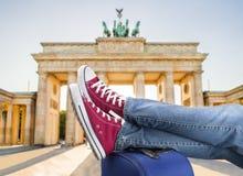Arrivée décontractée à Berlin Photo libre de droits