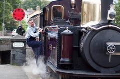 Arrivée de train de vapeur Images stock