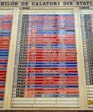 Arrivées de train/conseil démodés de départ à Bucarest, Roumanie photos stock