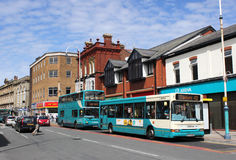Arriva liveried buses on Eastbank street Southport Stock Photography