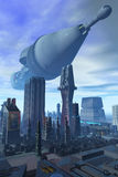 The Arrival. A giant spacecraft hovers over a futuristic looking city Royalty Free Illustration